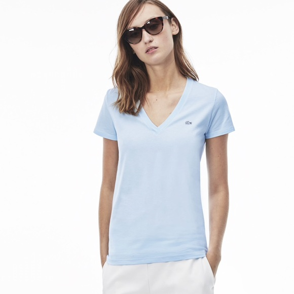 fb039e24a9 Lacoste Women's V-neck t-shirt in soft jersey NWT